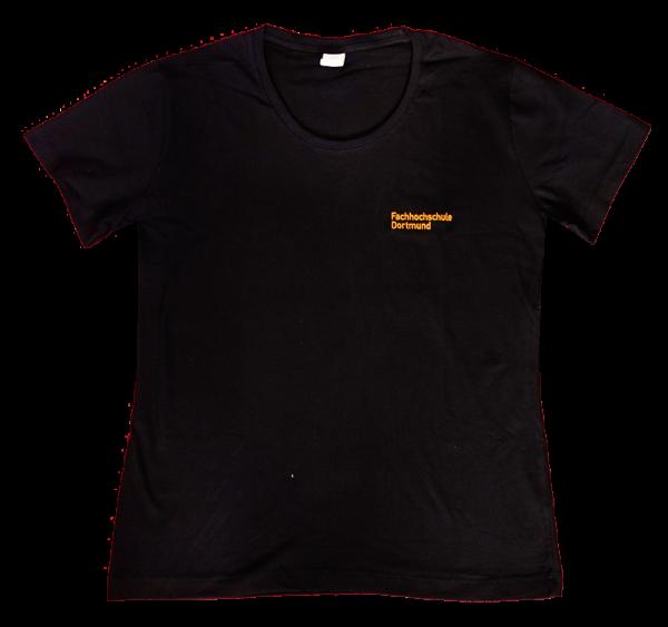 Damen T-Shirt große Größen, Rundhals-Ausschnitt und FH-Logo, schwarz