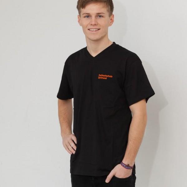 Unisex T-Shirt, V-Ausschnitt und FH-Logo, schwarz