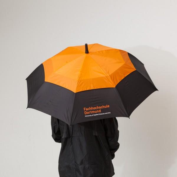 Stabschirm mit FH-Logo, orange/schwarz